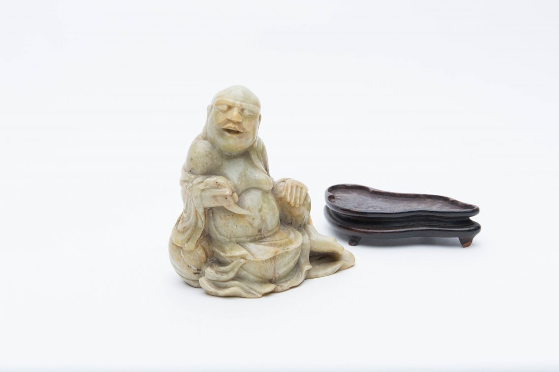 A Carved ShouShan Soapstone LaoHan Figure On Wood Stand - 5