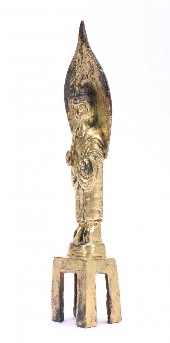 A Chinese Gilt Bronze Figure Of Standing Buddha - 2