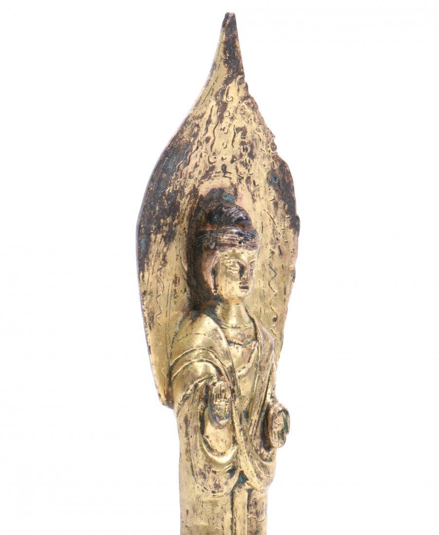 A Chinese Gilt Bronze Figure Of Standing Buddha - 5