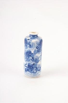 A Chinese Blue and White Porcelain Snuff Bottle