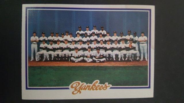 1978 Topps #282 New York Yankees Checklist