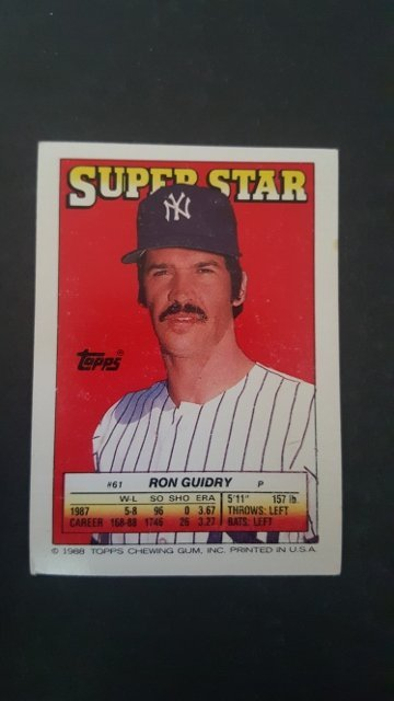 1988 Topps/O-Pee-Chee Sticker Backs #61 Ron Guidry
