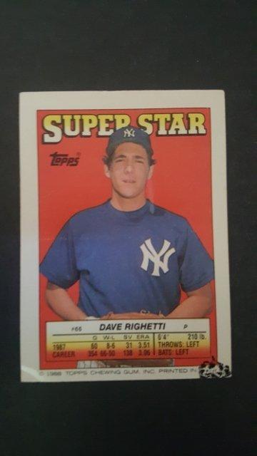 1988 Topps/O-Pee-Chee Sticker Backs #66 Dave Righetti