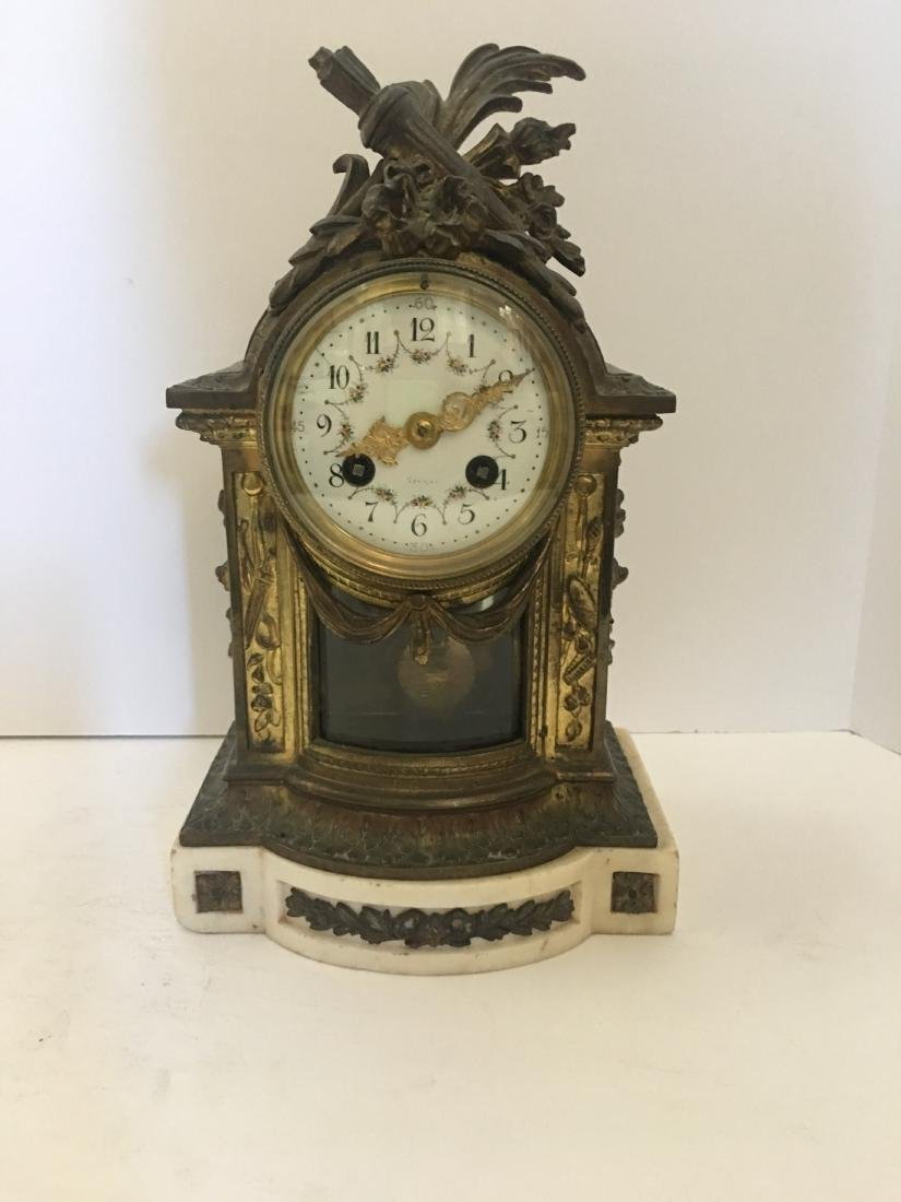 Antique French marble and omolu bronze clock
