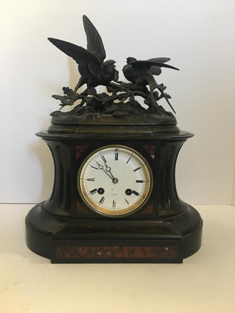 Antique clock marble and castiron