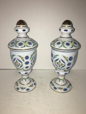 Pair of bohemian glass painted vase