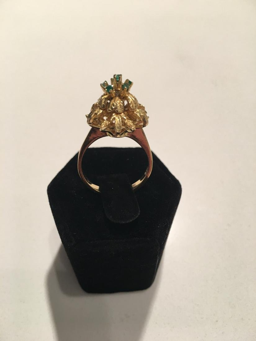 Antique yellow gold 18kt ring with emeralds - 2