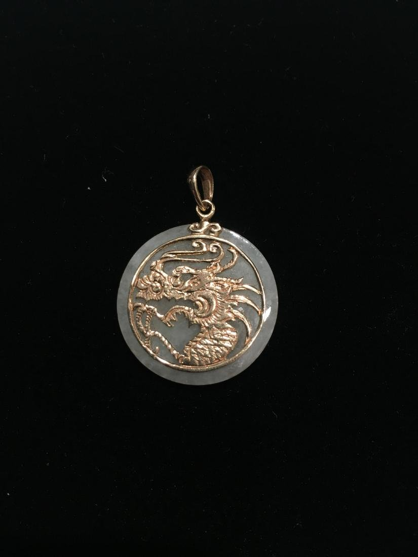 Vintage dragon pendant 14kt gold and jade