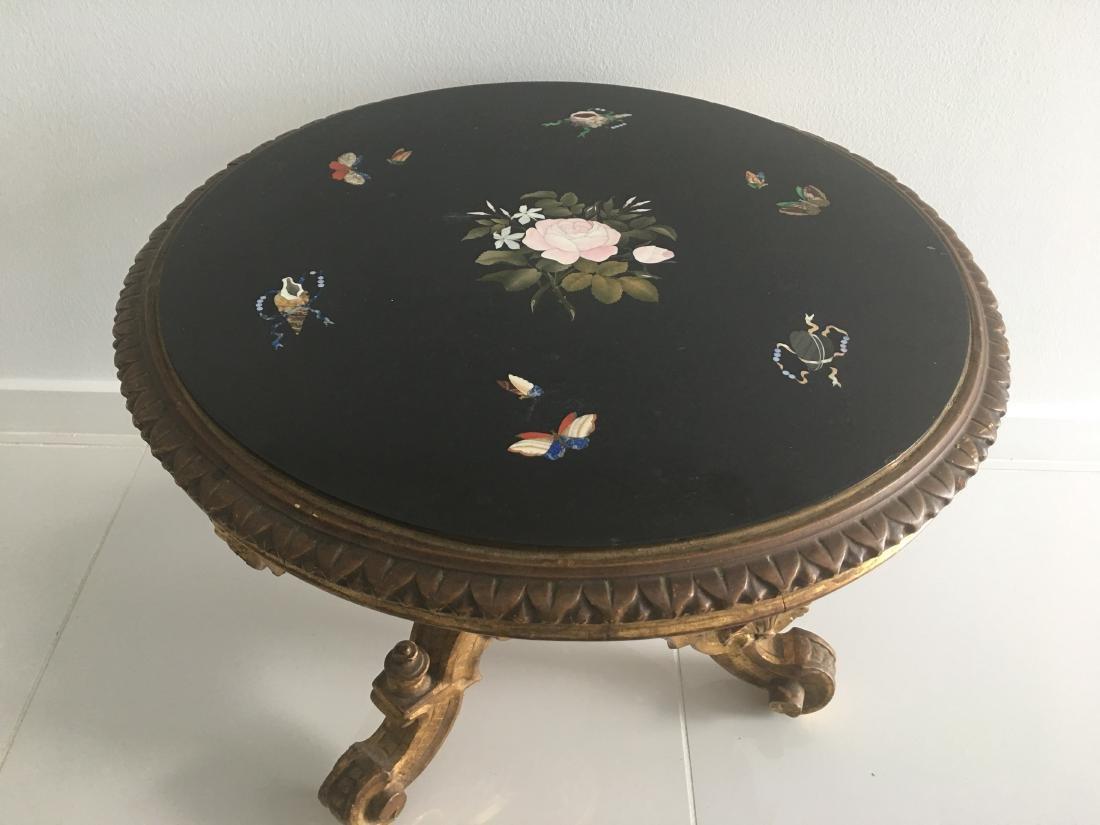 XIX century round table Italian piedra dura