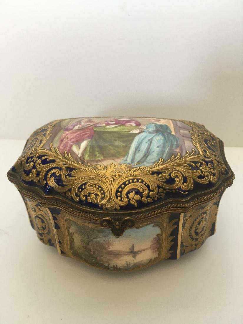 Antique handpainted sevres porcelain jewelry box