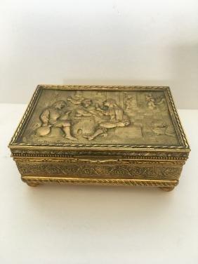 Vintage rectangle jewelry box depres David Teniers