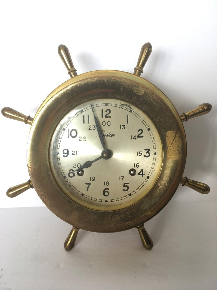 Old brass ships clock