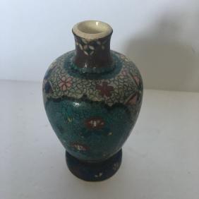 Antique japanese cloisonne pottery vase