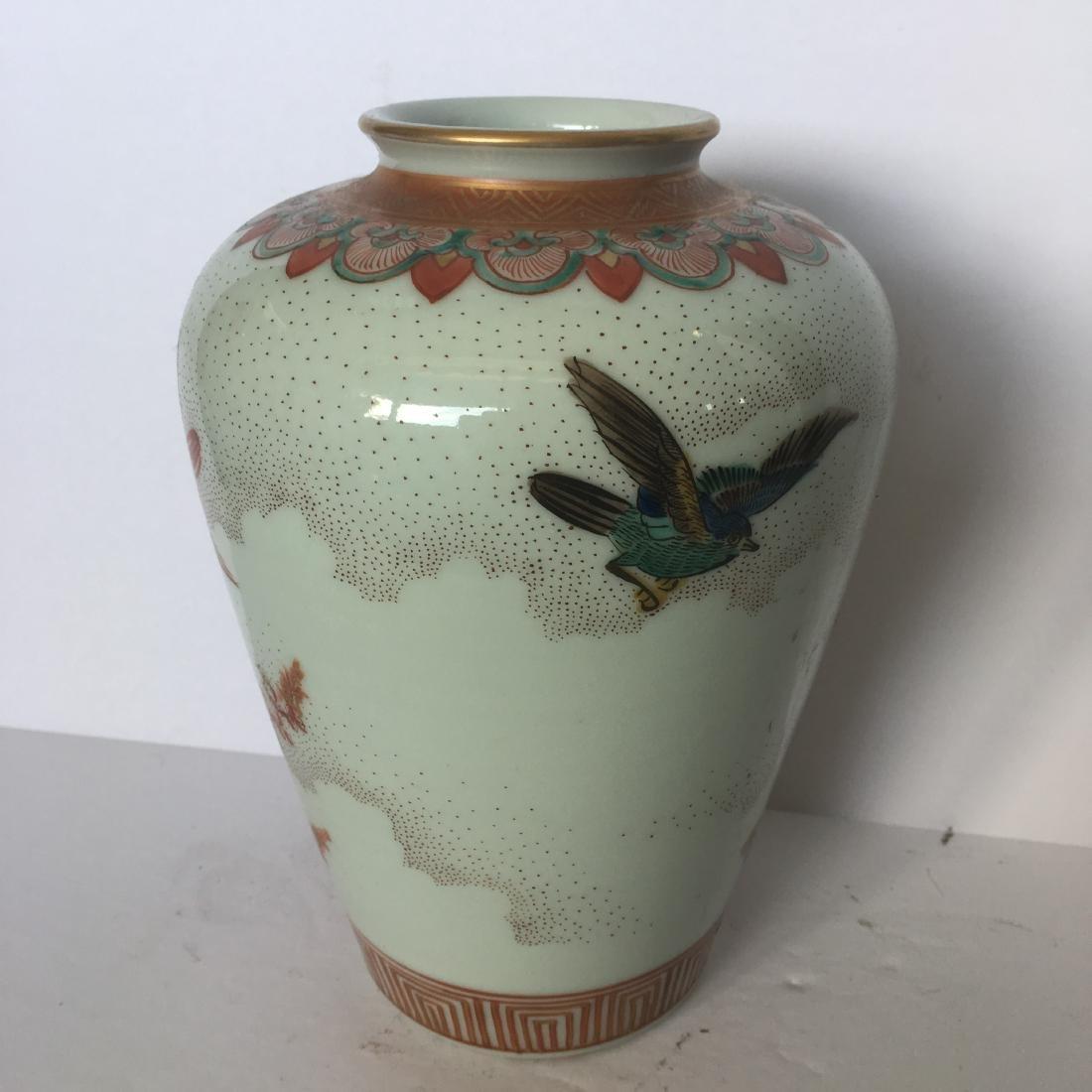 Old japanese kutani handpainted vase - 3