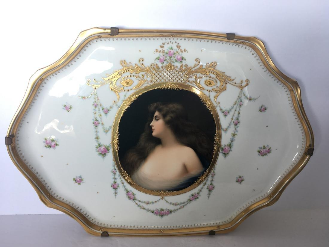 Antique vienna porcelain and enamel plate Erbluht