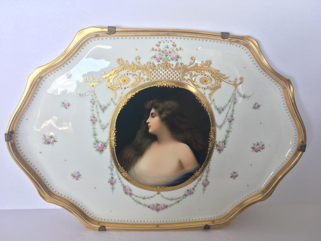 Antique vienna porcelain and enamel plate Erbluht - 2