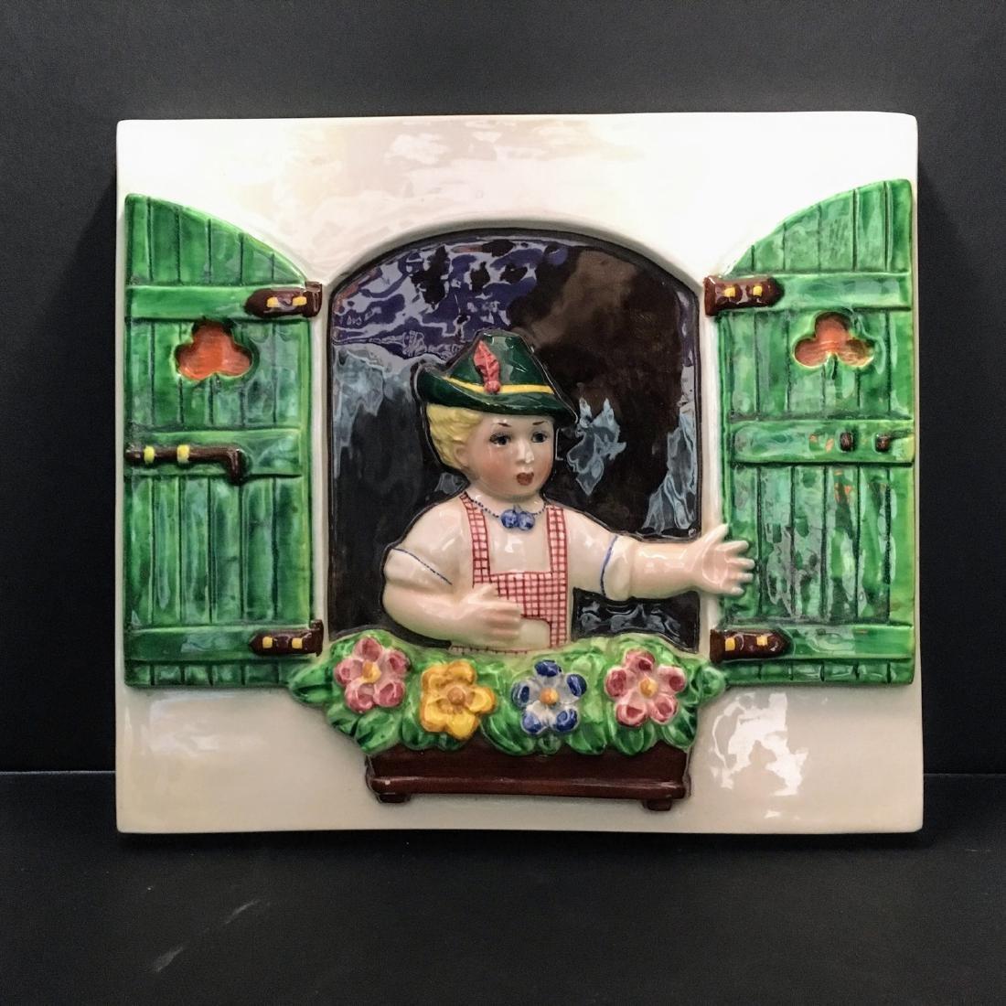 Antique Trevir Italian Ceramic plaque