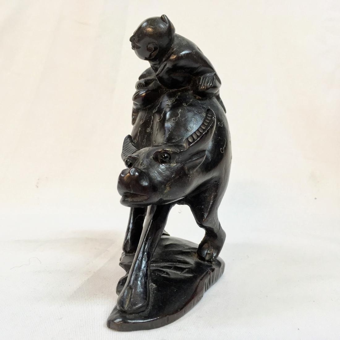 Vintage Handcarved Oriental wood, Man on Ox Figure - 2