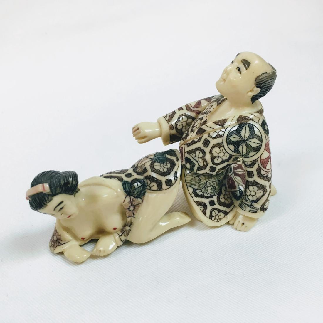 19th Century Erotic 2 piece Okimono figure - 5