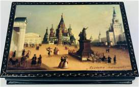 Vintage Russian Paper Mache Black Lacquer Hand Painted