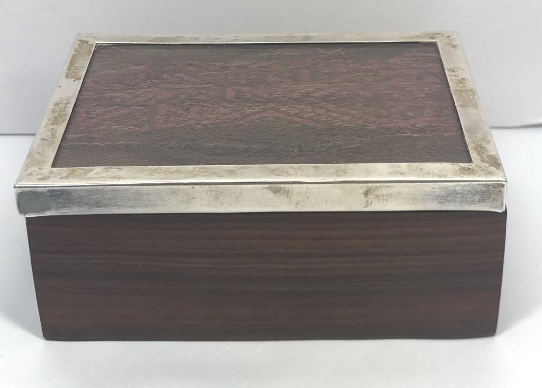 Vintage sterling silver and wood Peru trinket box