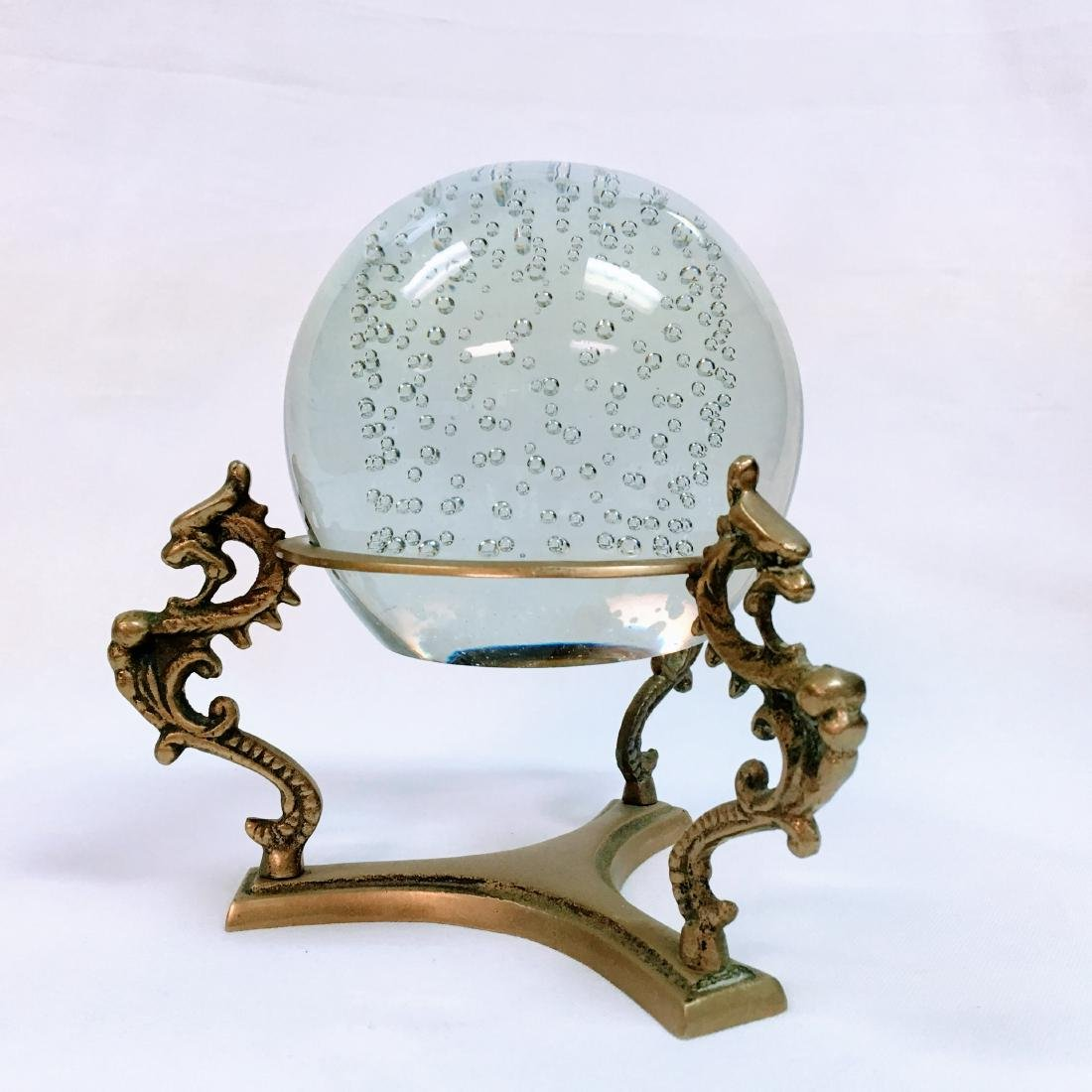 Vintage Brass Crystal Ball Sphere Stand Dragon