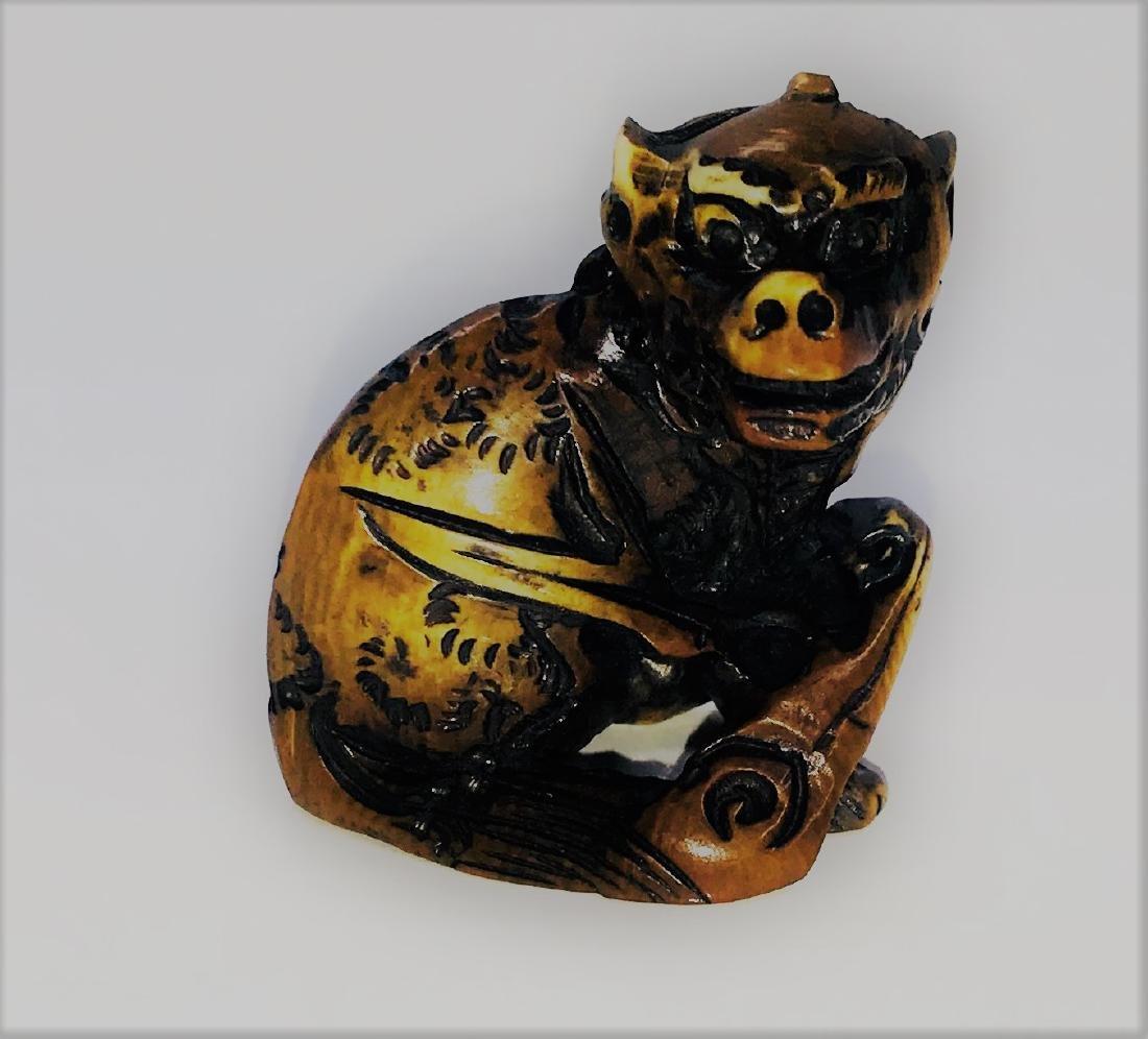ANTIQUE JAPANESE CARVED NETSUKE - 19TH CENTURY signed