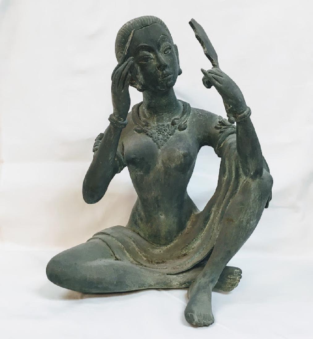 Vitange Large bronze Chinese female statue with mirror
