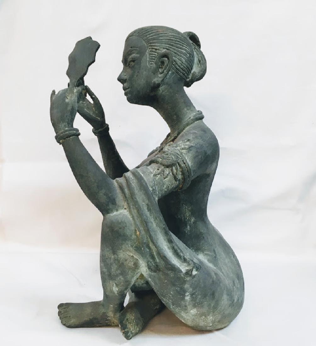 Vitange Large bronze Chinese female statue with mirror - 2