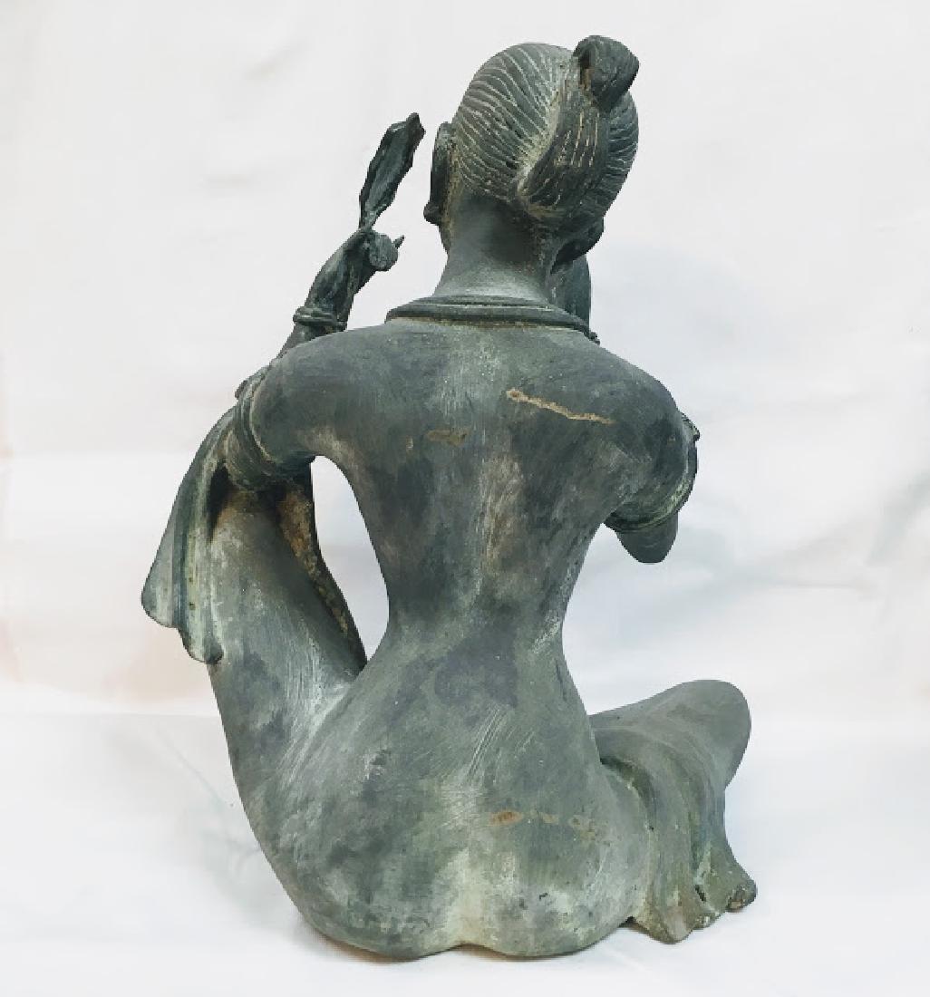 Vitange Large bronze Chinese female statue with mirror - 3