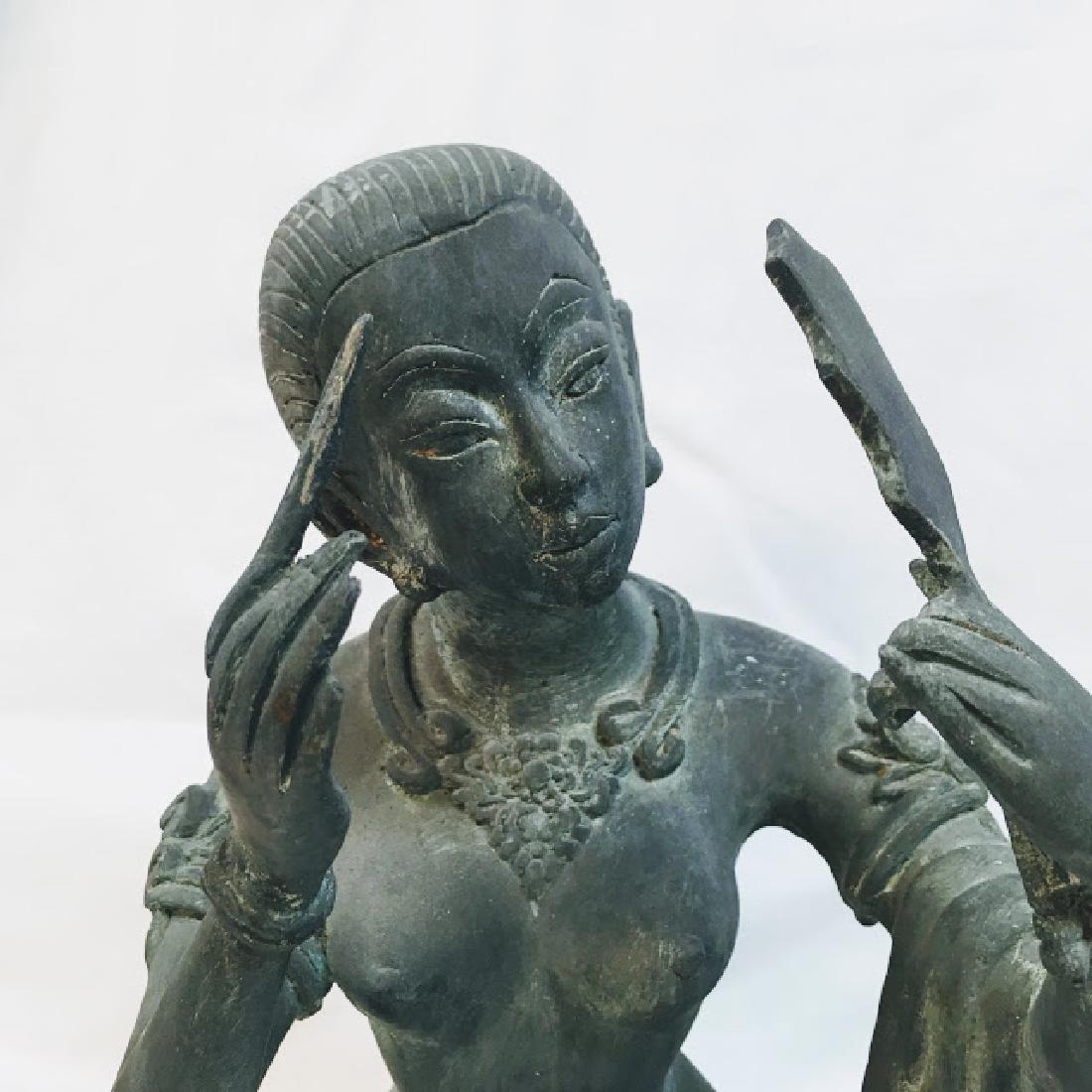 Vitange Large bronze Chinese female statue with mirror - 6