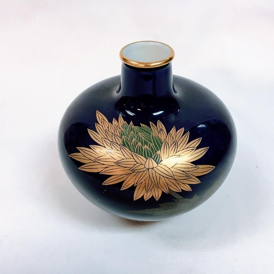 Fukagawa Koransha porcelain bud vase cobalt gold - 2
