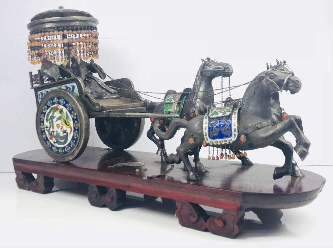 C.1890 IMPORTANT SILVER ENAMEL LARGE SCULPTURE HORSE