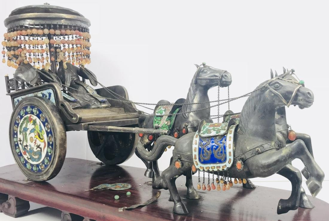 C.1890 IMPORTANT SILVER ENAMEL LARGE SCULPTURE HORSE - 2