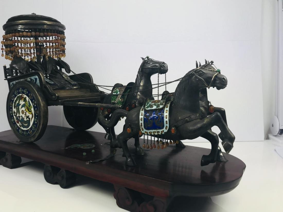 C.1890 IMPORTANT SILVER ENAMEL LARGE SCULPTURE HORSE - 3