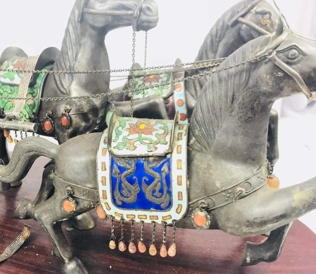 C.1890 IMPORTANT SILVER ENAMEL LARGE SCULPTURE HORSE - 4