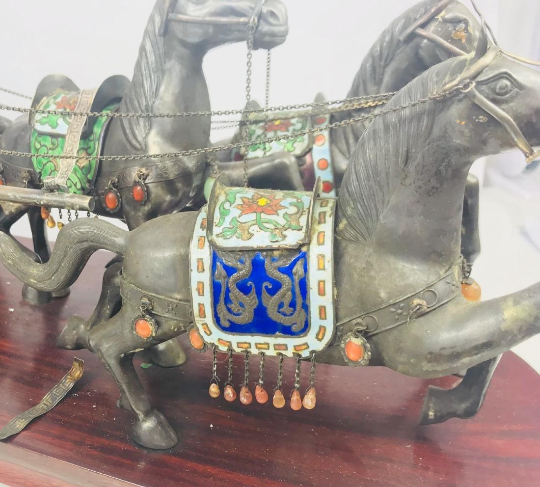 C.1890 IMPORTANT SILVER ENAMEL LARGE SCULPTURE HORSE - 5