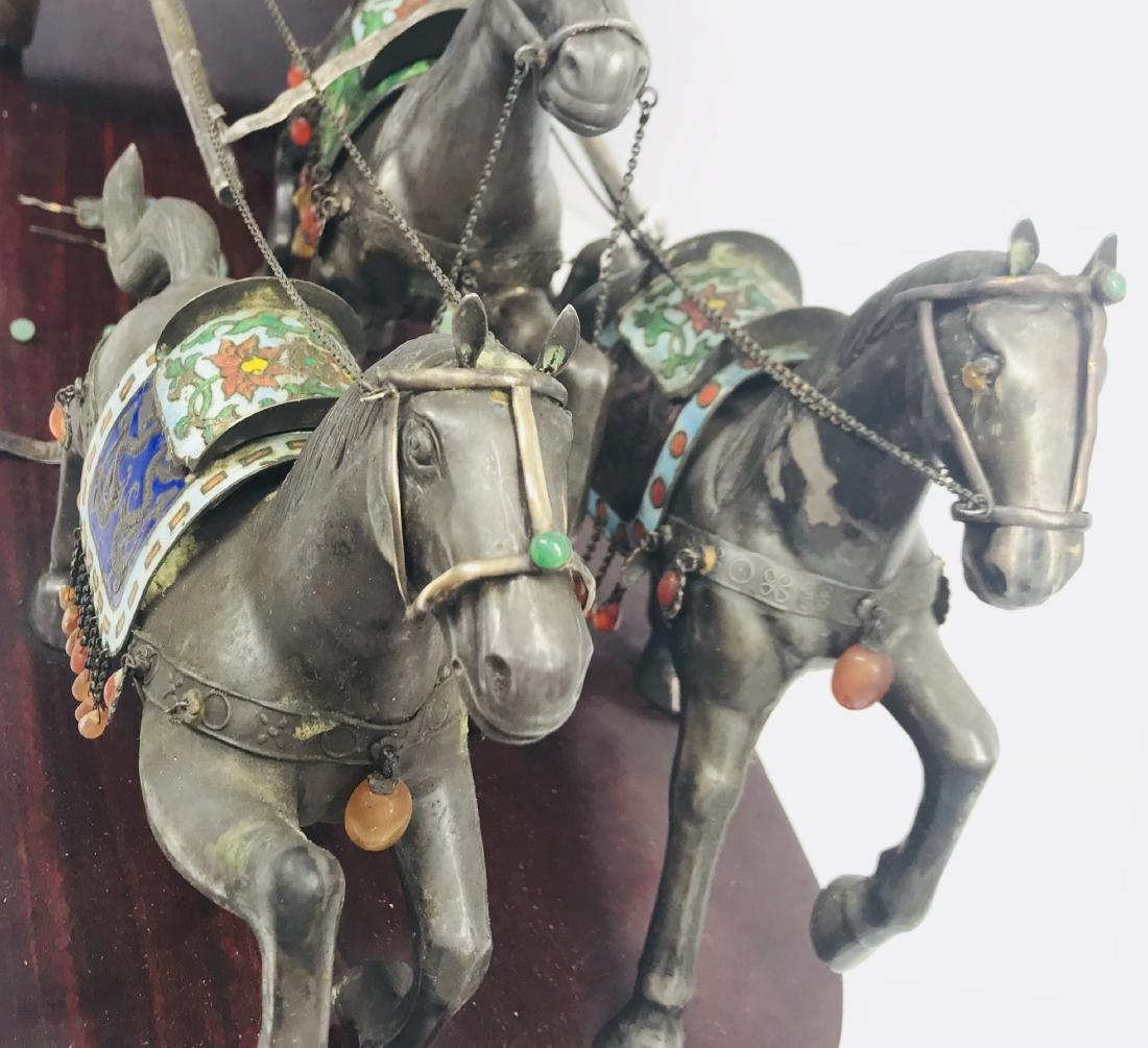 C.1890 IMPORTANT SILVER ENAMEL LARGE SCULPTURE HORSE - 6