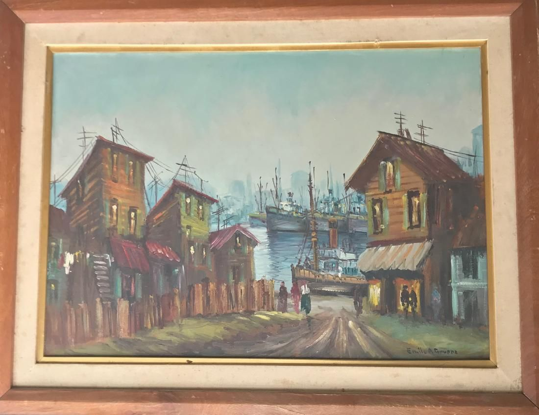 Oil on cardboard painting signed Emile A Gruppe