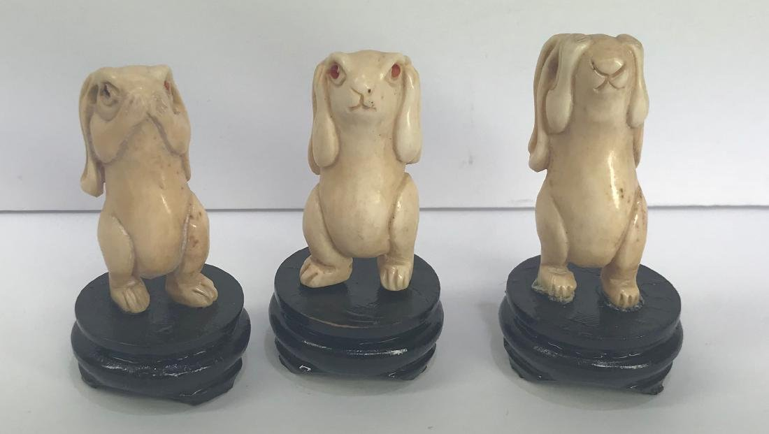 Set of 3 hand carved wise rabbits