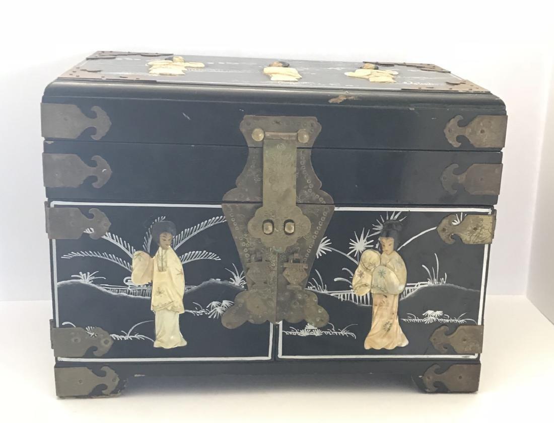 Vintage Oriental Jewelry Chest Box Black Lacquer
