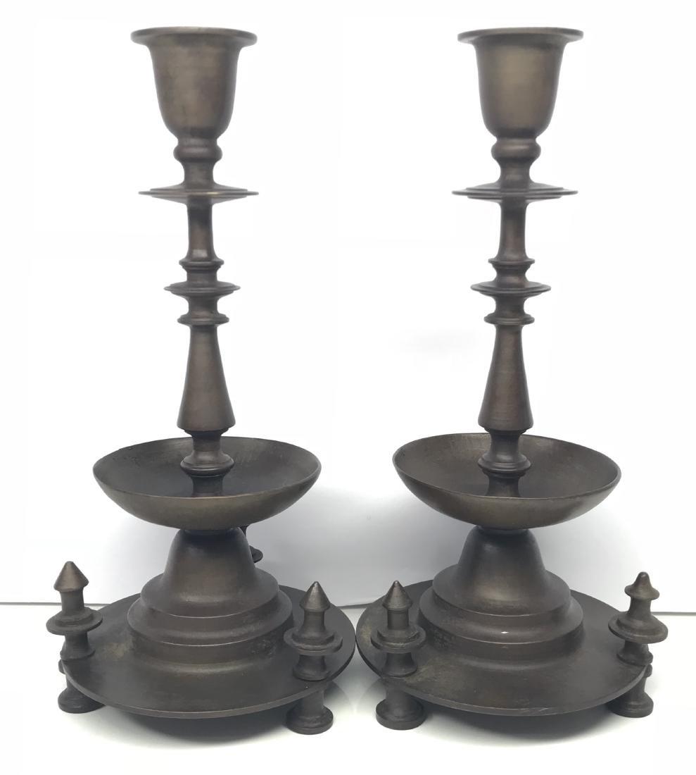 Rare pair bronze candelabras signed tiffany studios