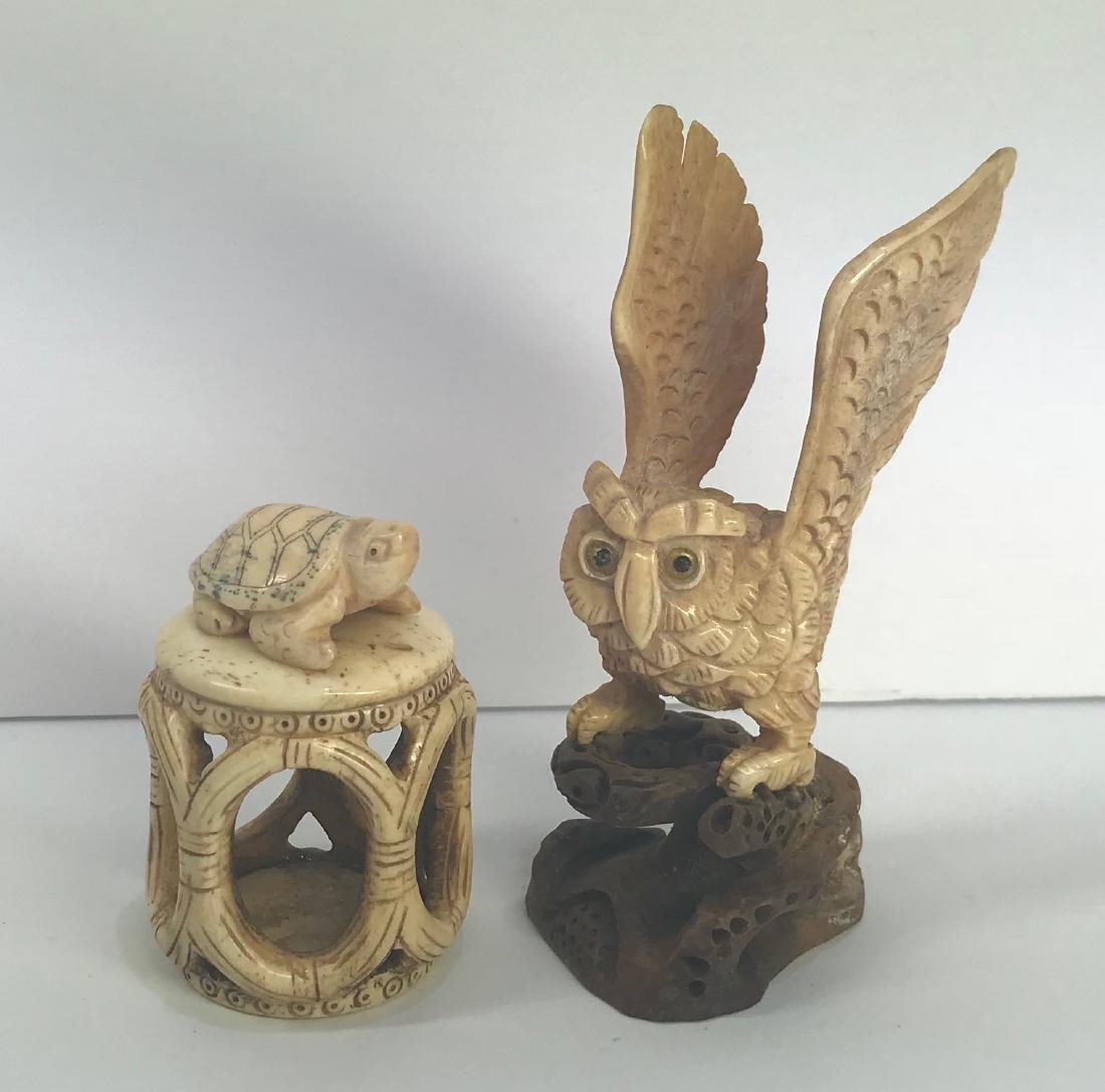 Set of 2 hand carved animal figures