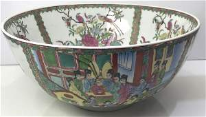 Large Antique Chinese Famille Rose Medallion Punch Bowl