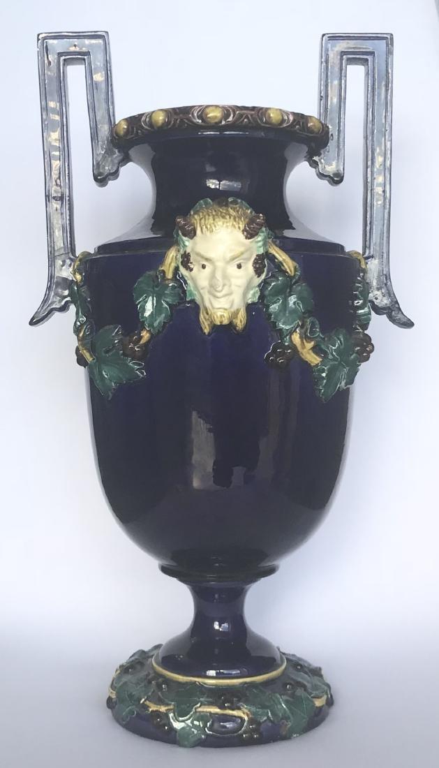 Antique Majolica Milton blue vase