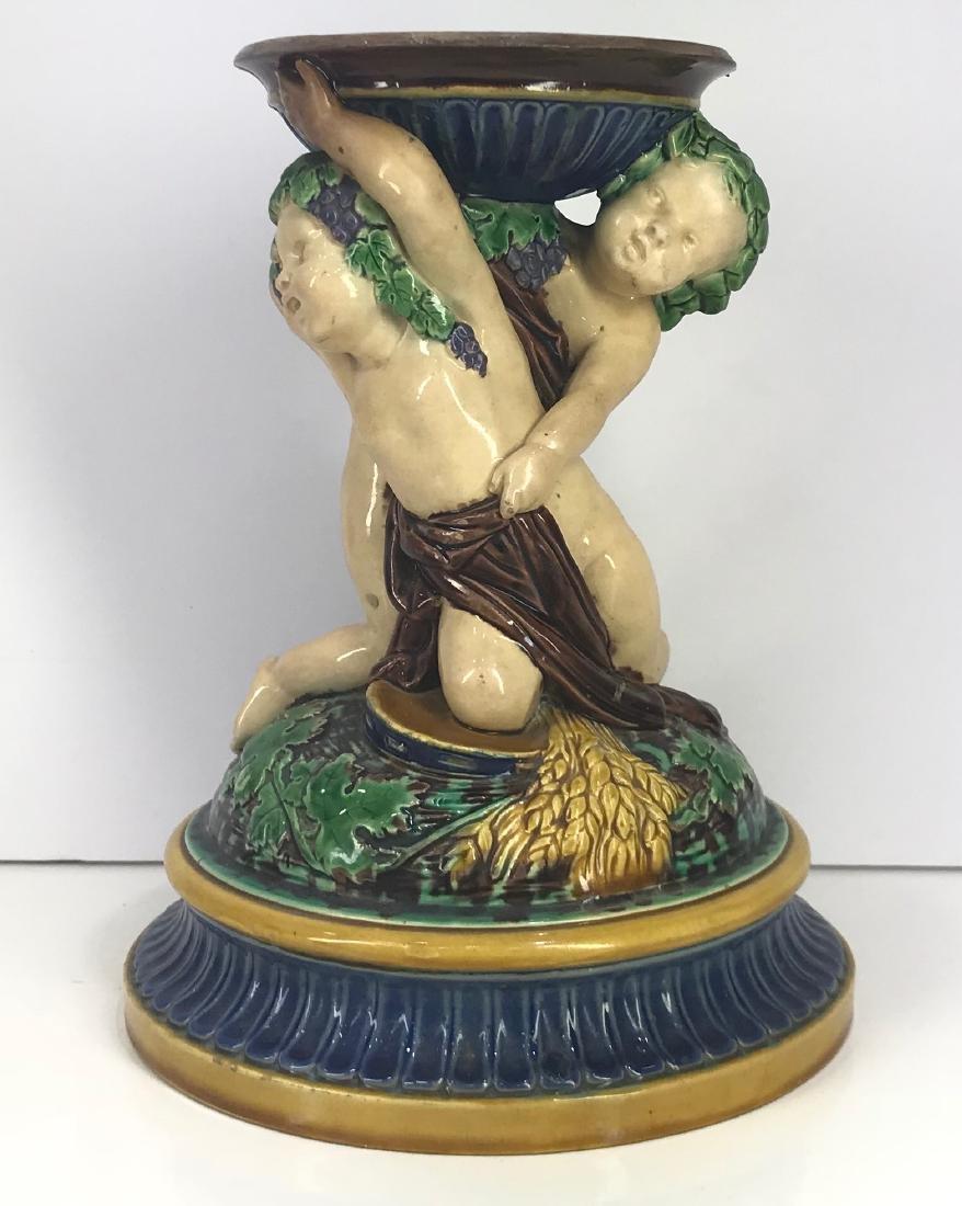 Antique Minton Majolica Cherub, Putti Centerpiece