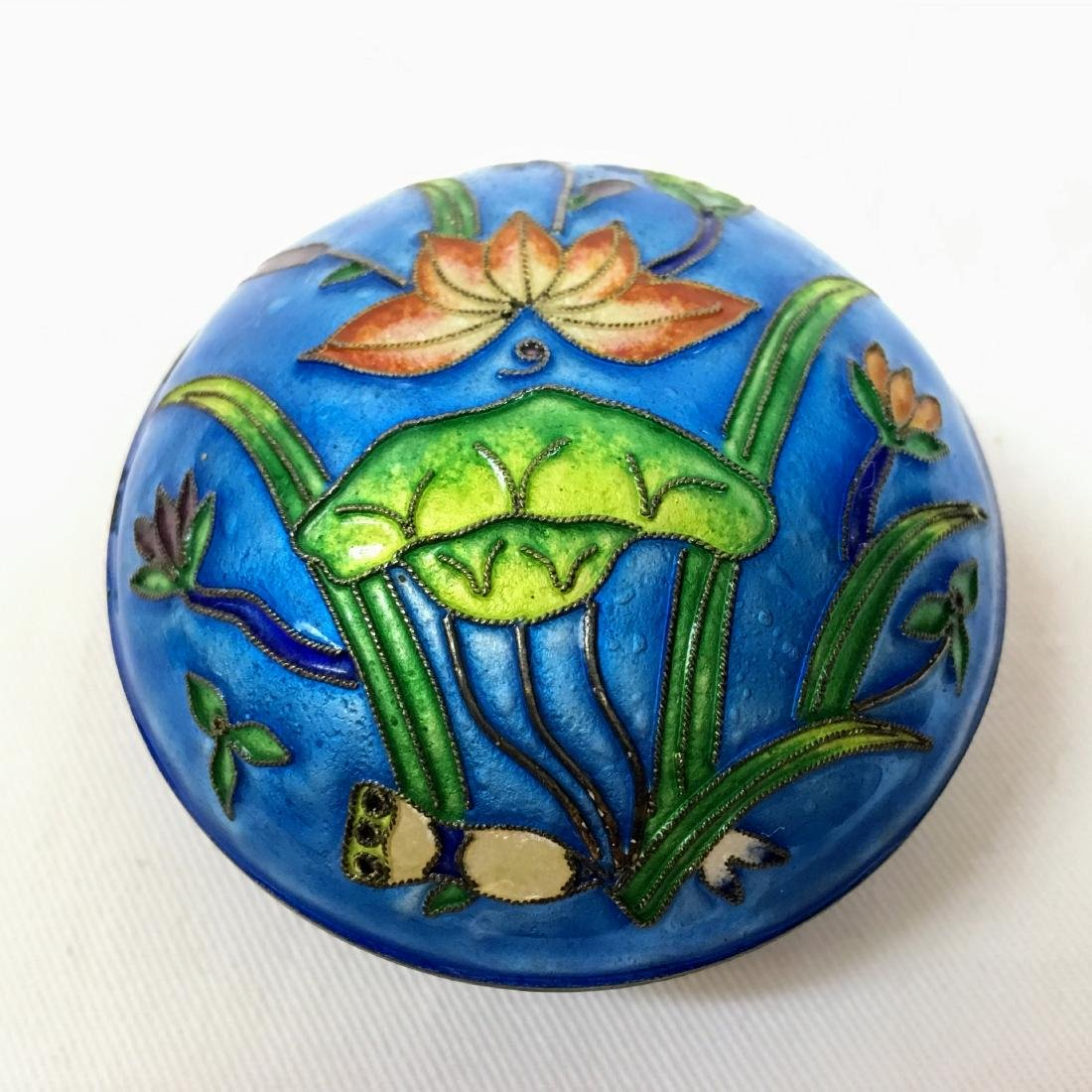 Vintage Cloisonné and sylver covered trinket box