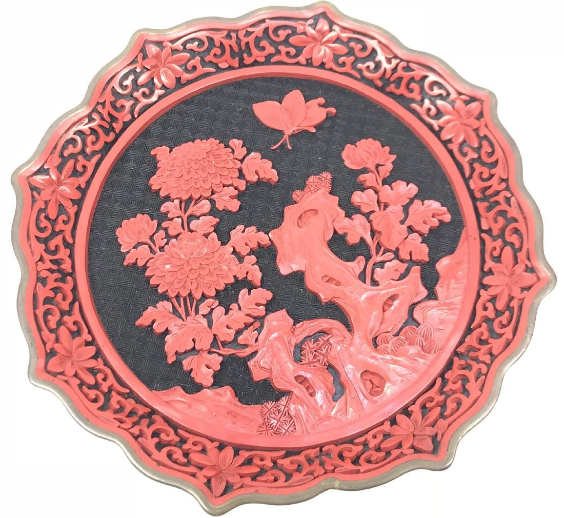 Vintage chinese cinnabar plate with wooden stand