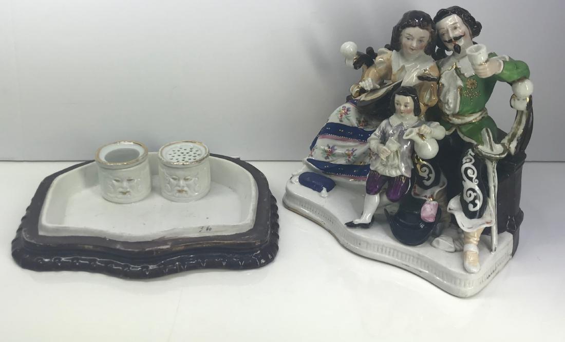 Antique Old Paris porcelain inkwel XIX Century - 4