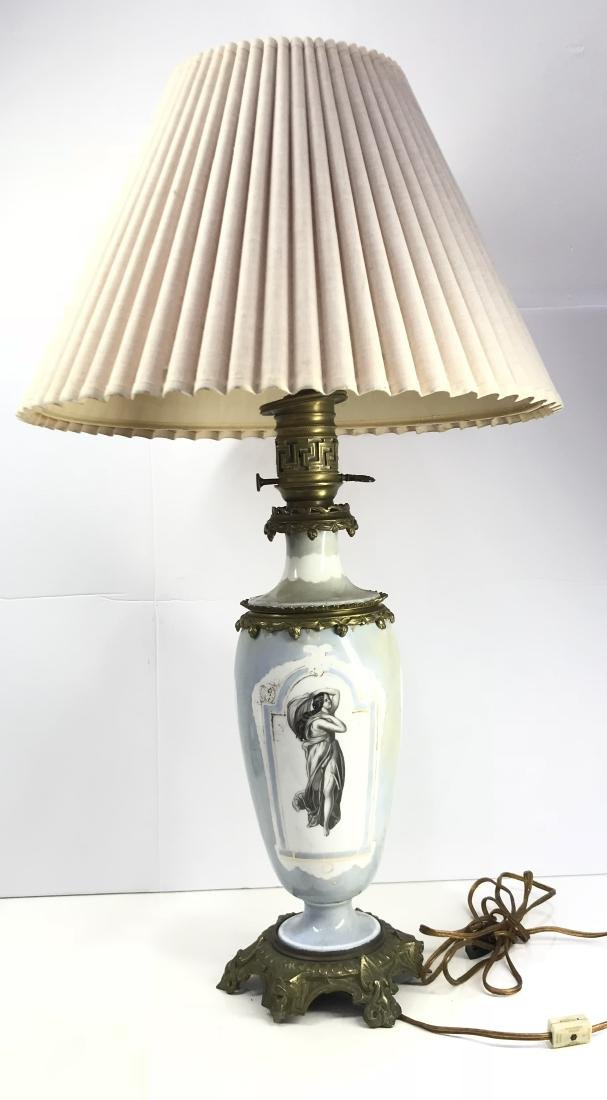 Antique victorian opalina glass lamp with bronze
